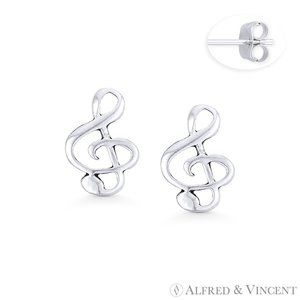 G-Clef Music Note Earrings .925 Sterling Silver